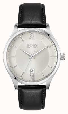 BOSS | Elite-Geschäft | schwarzes Lederarmband | silbernes Datumszifferblatt | 1513893