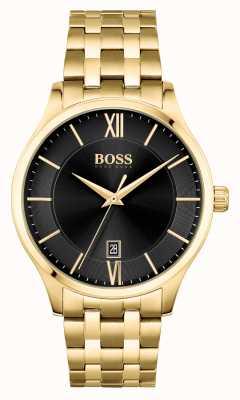 BOSS | Elite-Geschäft | goldenes Armband | schwarzes Datumszifferblatt | 1513897