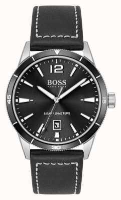 BOSS Set aus schwarzer Lederuhr und Armband 1570124