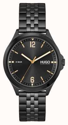 HUGO #anzuggeschäft | schwarzes Zifferblatt | schwarzes PVD-Stahlarmband 1530218