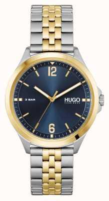 HUGO #anzuggeschäft | blaues Zifferblatt | zweifarbiges Stahlarmband 1530219