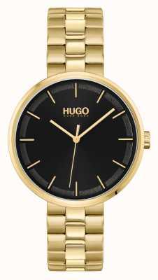 HUGO #zerquetschen | schwarzes Zifferblatt | goldenes PVD-Stahlarmband 1540102