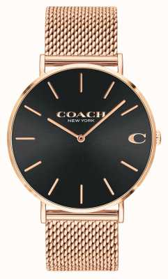 Coach | charles | schwarzes Zifferblatt mit Sonnenschliff | roségoldenes Mesh-Armband | 14602552