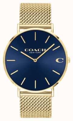 Coach | charles | blaues Zifferblatt mit Sonnenschliff | goldenes Mesh-Armband | 14602551