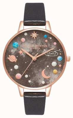 Olivia Burton Celestial Planet Zifferblatt schwarzes Lederarmband OB16GD83