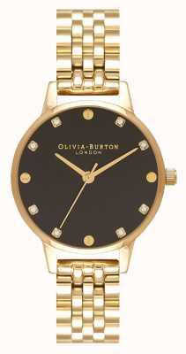 Olivia Burton Midi schwarzes Sonnenstrahl-Zifferblatt goldene Armbanduhr OB16SE17
