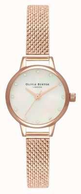 Olivia Burton Weißes Mini-Perlmutt-Zifferblatt, funkelnde Markierungen & roségoldenes Boucle-Mesh OB16MN05