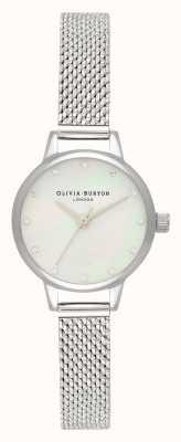 Olivia Burton Weißes Mini-Perlmutt-Zifferblatt, funkelnde Markierungen & silberne Boucle-Mesh-Uhr OB16MN04