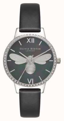 Olivia Burton Lucky Bee Midi Sparkle Dial schwarz & silber Uhr OB16BB13