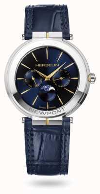 Michel Herbelin Newport schlanke Mondphasenuhr mit Lederarmband 12722/T15BL