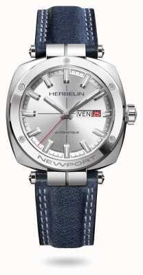 Michel Herbelin Newport Heritage Uhr mit silbernem Sonnenschliff-Zifferblatt 1764/AP11BL
