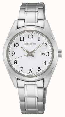Seiko Damenarmband aus Edelstahl mit weißem Zifferblatt SUR465P1