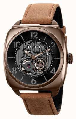 Briston Clubmaster Skelett Khaki PVD Uhr 211042.SPK.SK.5.BR