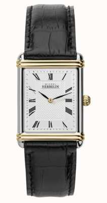 Michel Herbelin Herren Art Deco schwarzes Lederarmband 17468/T08