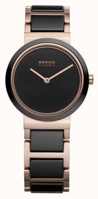 Bering Damen | poliertes Roségold | schwarz-roségoldenes Armband 10729-746