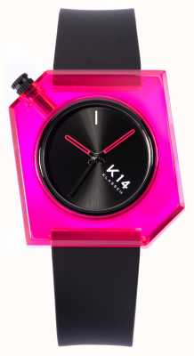 Klasse14 K14 rosa Puppe 40mm schwarzes Silikonarmband WKF19PK001M