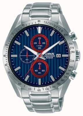 Lorus Sport-Chronograph Quarz blaues Zifferblatt Uhr RM307HX9