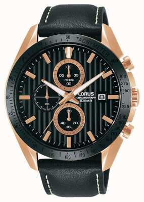 Lorus Sport-Chronograph Quarz schwarzes Lederarmband RM308HX9