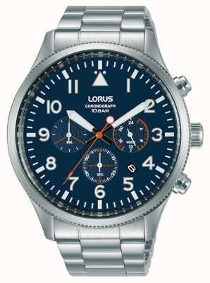 Lorus Chronograph Quarz blaues Zifferblatt Edelstahl RT365JX9