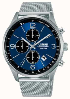 Lorus Chronograph blaues Zifferblatt Mesh-Stahlarmband RM315HX9