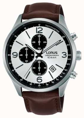 Lorus Chronograph weißes Zifferblatt braunes Lederarmband RM321HX9