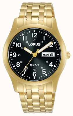 Lorus Klassische 38 mm Quarzuhr schwarzes Zifferblatt Gelbgold RXN76DX9