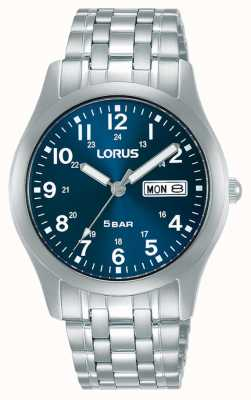 Lorus Klassische 38 mm Quarzuhr blaues Zifferblatt RXN77DX9