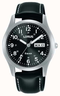 Lorus Klassische 38 mm Quarzuhr schwarzes Zifferblatt Lederarmband RXN79DX9