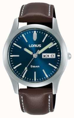 Lorus Klassische 38 mm Quarzuhr blaues Zifferblatt Lederarmband RXN81DX9