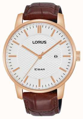 Lorus 42 mm quarzweißes Zifferblatt braunes Lederarmband RH978NX9