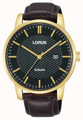 Lorus 42 mm Quarz schwarzes Zifferblatt braunes Lederarmband RH980NX9