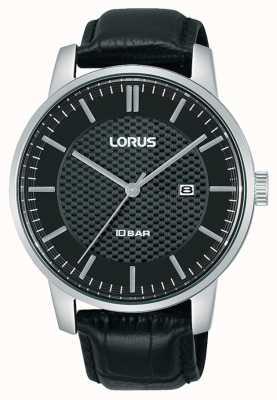 Lorus 42 mm Quarz schwarzes Zifferblatt schwarzes Lederarmband RH981NX9