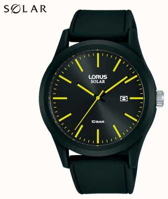 Lorus 42 mm Solaruhr schwarzes Silikonarmband RX301AX9