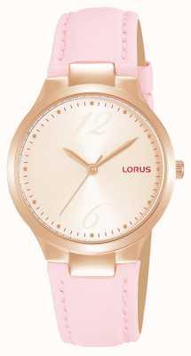 Lorus Roségoldenes Sonnenschliff-Zifferblatt für Damen rosa Lederarmband RG210UX9