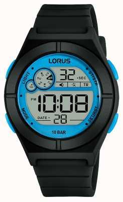 Lorus Damen Digitaluhr schwarzes Silikonarmband blaue Details R2361NX9