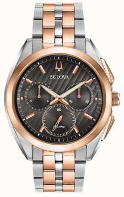 Bulova | Kurve | Chronograph | schwarzes Zifferblatt | zweifarbiges Stahlarmband | 98A160