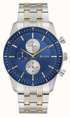 Bulova Klassischer Sport | Chrono | blaues Zifferblatt | zweifarbiges Armband 98A243