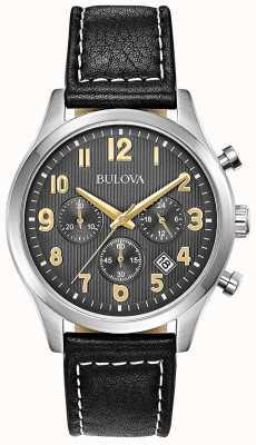 Bulova Chronograph schwarzes Lederarmband schwarzes Zifferblatt 96B302