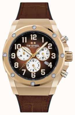 TW Steel Ace Genesis Limited Edition Armband aus Kautschuk und braunem Leder ACE132