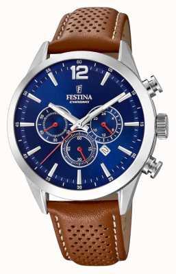 Festina Chronograph blaues Zifferblatt braunes Lederarmband F20542/3