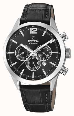 Festina Chronograph schwarzes Lederarmband F20542/5