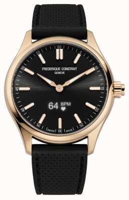 Frederique Constant Herren Vitality Smartwatch schwarzes Zifferblatt schwarzes Kautschuk FC-287BS5B4