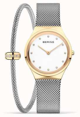 Bering Klassisches Set aus polierter Golduhr und Armband für Damen 12131-010-190-GWP1