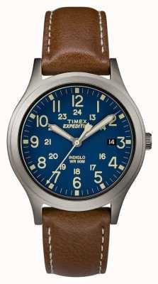 Timex Herren Expedition Scout blaues Zifferblatt braune Lederarmbanduhr TW4B11100