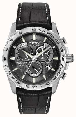 Citizen Mens funkgesteuert Perpetual am Chronographen schwarzes Leder AT4000-02E