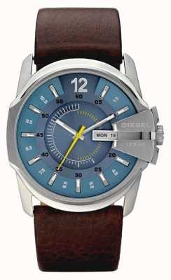 Diesel Mens blaues Zifferblatt braunes Lederarmband Uhr DZ1399